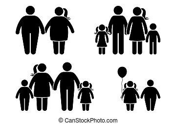 plat, style, icône, obèse, figure, enfants, noir, humain, ...