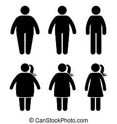 plat, style, icône, obèse, figure, gens, noir, pictogramme, ...