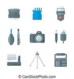 plat, style, icônes, colorez photographie, isolé, numérique, outils