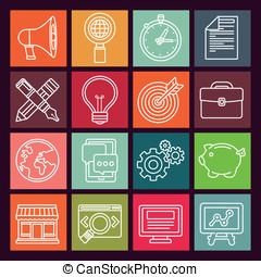 plat, style, icônes, commercialisation, vecteur, internet