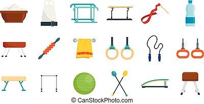 plat, style, icônes, ensemble, équipement, gymnastique