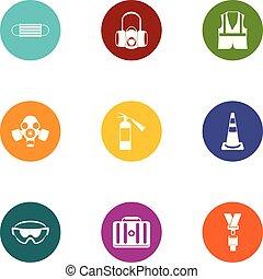plat, style, icônes, ensemble, chimique, protection