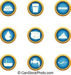 plat, style, icônes, ensemble, goutte, eau