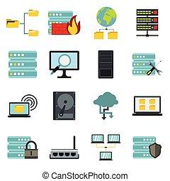 plat, style, icônes, ensemble, grand, données