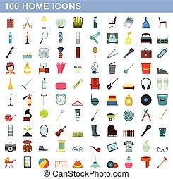 plat, style, icônes, ensemble, maison, 100