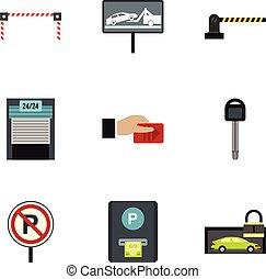 plat, style, icônes, ensemble, station, stationnement