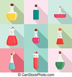 plat, style, icônes, flacon, chimique, ensemble