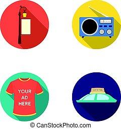 plat, style, icônes, signe, voiture, symbole, web., collection, t-shirt, roof.advertising, vecteur, réverbère, illustration, radio, inscription, stockage