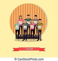 plat, style, illustration, chœur, vecteur, chant