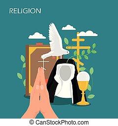 plat, style, illustration, christianisme, religion, vecteur, conception