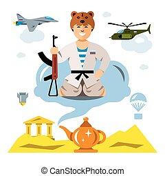 plat, style, illustration., coloré, armée, russe, vecteur, desert., comique, dessin animé
