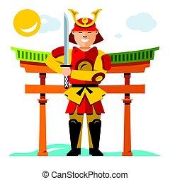 plat, style, illustration., coloré, samouraï, vecteur, japan., dessin animé