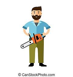 plat, style, illustration., coloré, woodcutter., vecteur, ...