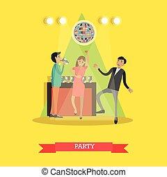 plat, style, illustration, disco, vecteur, fête