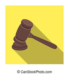 plat, style, illustration., hammer., bois, symbole, criminal.prison, bitmap, unique, verdict, juge, icône, marteau, deducing, stockage