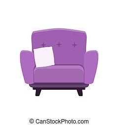 plat, style, illustration, icône, chaise, vecteur