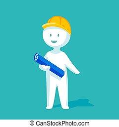 plat, style, illustration, papier, vecteur, stand, tenue, plan., blanc, ingénieur, man., heureux
