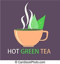 plat, style, illustration., thé, chaud, conception, logo, vert, ou