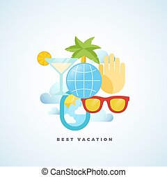 plat, style, illustration., vacances, vecteur, tourisme, mieux