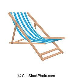 plat, style, illustration, vecteur, chaise, plage