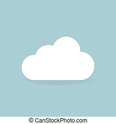 plat, style, illustration, vecteur, conception, icône, nuage