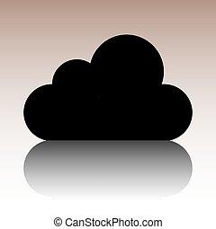 plat, style, illustration., vecteur, conception, icône, nuage