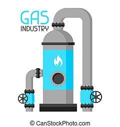 plat, style, industriel, gas., stockage, illustration, injection