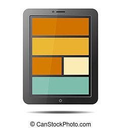 plat, style, informatique, tablette, réaliste, écran, isolé, pc, vecteur, arrière-plan., blanc