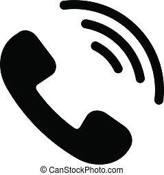 plat, style, isolé, téléphone, fond, branché, blanc, icône