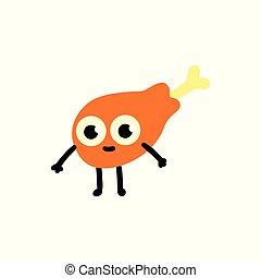 plat, style, jambe, caractère, illustration, vecteur, poulet rôti, dessin animé