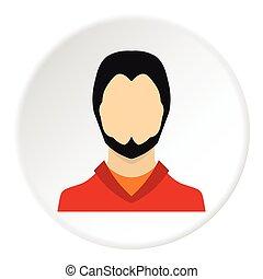 plat, style, jeune, avatar, icône, barbe, homme