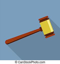 plat, style, justice, icône, bois, marteau