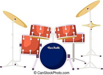 plat, style, kit, tambours, rocher, icône