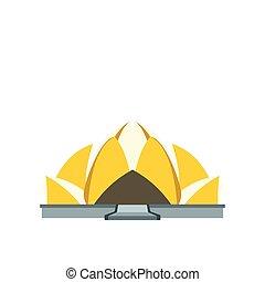 plat, style, lotus, delhi, icône, nouveau, temple