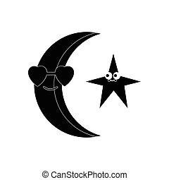 plat, style, lune, noir, étoiles, blanc, icône
