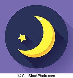 plat, style, -, lune, vecteur, conception, étoiles, nuit, icon.