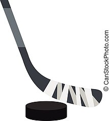 plat, style, lutin, hockey, icône, crosse