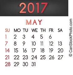 plat, style, mai, vecteur, tonalités, 2017, calendrier, rouges