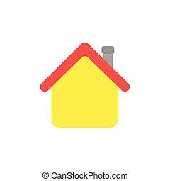 plat, style, maison, cheminée, vecteur, conception, rouges