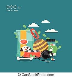 plat, style, maison, chien, illustration, vecteur, conception