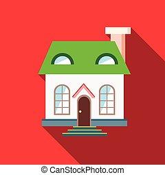 plat, style, maison, toit, vert, icône