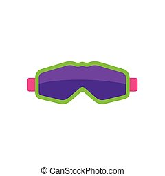 plat, style, masque, lunettes protectrices, ski, snowboarding