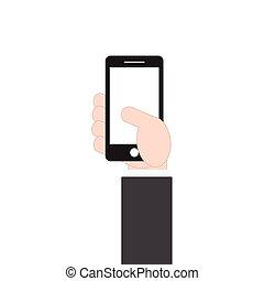 plat, style, mobile, illustration, main, téléphone, vecteur, conception, tenue, homme affaires, fond blanc