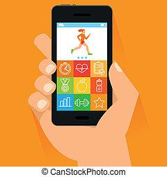 plat, style, mobile, main, téléphone, vecteur
