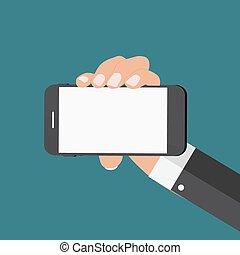 plat, style, mobile, résumé, moderne, illustration, main, téléphone, vecteur, gabarit