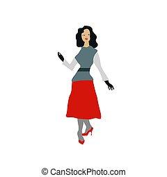 plat, style, mode, illustration., look., 50s., vecteur, retro, nouveau, model.