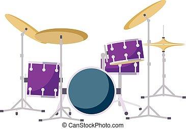 plat, style, moderne, kit, tambours, icône