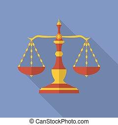 plat, style, moderne, vieux, balances, justice., icon.