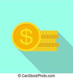 plat, style, monnaie, dollar, icône