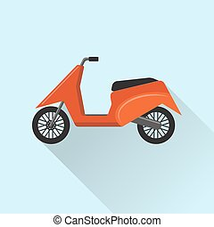 plat, style, moto, scooter, icône